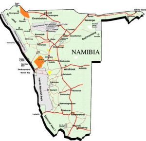Namibia safari areas map